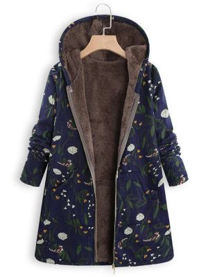 Floral Print Hooded Long Sleeve Pockets Vintage Jacket Coats