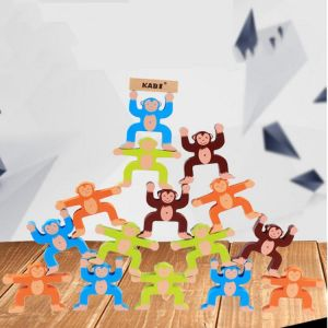 16pcs Wooden Stacking Games Monkeys Interlock Toys Balance Blocks Toys Games Kids Toy Balance Game Toy For Baby Children Gifts