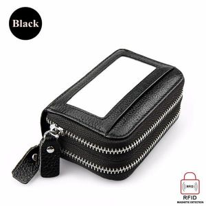 Genuine Leather RFID Double Zipper 11 Card Holder Anti Theft Coin Bag Short Purse