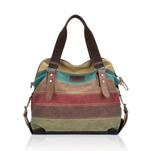 Women Casual Stripe Canvas Handbag  Micro-Fibric Leather Shoulder Bags Contrast Color Crossbody Bags