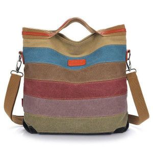 Women Canvas Striped Crossbody Bags Vintage Contrast Color Canvas Tote Handbags