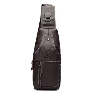 Bullcaptain Men Genuine Leather Business Casual Brown Black Shoulder Crossbody Bag